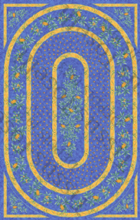 Cicadas Tablecloth Rectangular 250cms with centre placed design Blue Coated